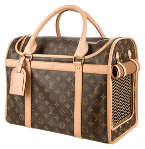 Louis Vuitton Dog Pet Carrier Chien 50 Travel Luggage Monogram Canvas Travel Bag