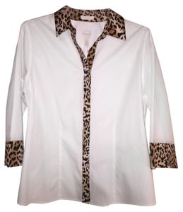 Chico's Top White with animal print trim