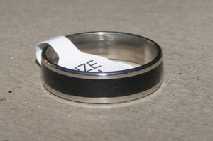 Black Enamel Stainless Steel Wedding Band Free Shipping