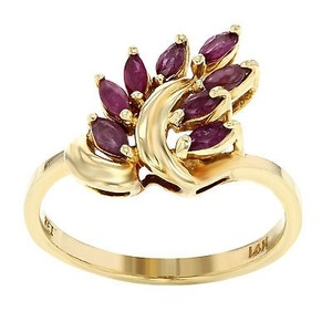 14k Gold 0.50 Cttw Synthetic Ruby Womens Cocktail Ring