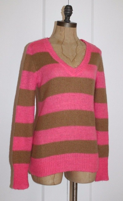 J.Crew Striped Casual V-neck Holiday Sweater Image 1