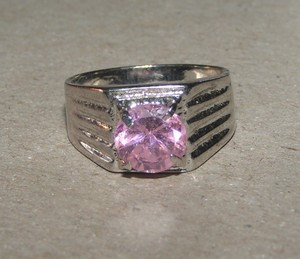 Pink Solitaire Fashion Ring Free Shipping