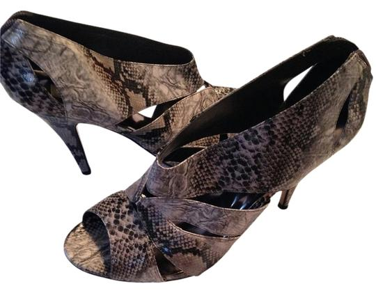 Steve Madden Python Booties Peep Toe Black Pumps