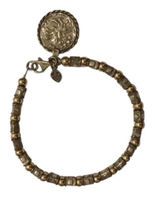 Item - Silver and Gold B1582 Filled Bead Sterling with A Lobster Clasp Bracelet