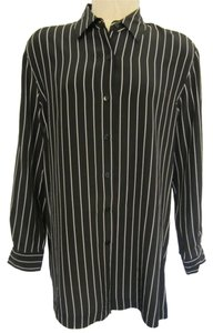 Saks Fifth Avenue Button Down Shirt Black with White Striped