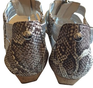 Donald J. Pliner Leather Silver and Snake Skin Sandals