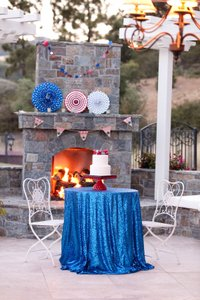 120' Round Blue Sequin Tablecloth Bling Glam Sparkle Wedding Clearance