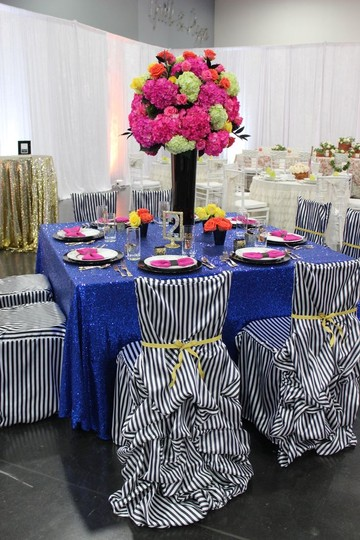 Blue 120' Round Sequin Bling Glam Sparkle Tablecloth Image 1