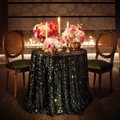 Black 120' Round Sequin Bling Glam Sparkle Tablecloth Image 1