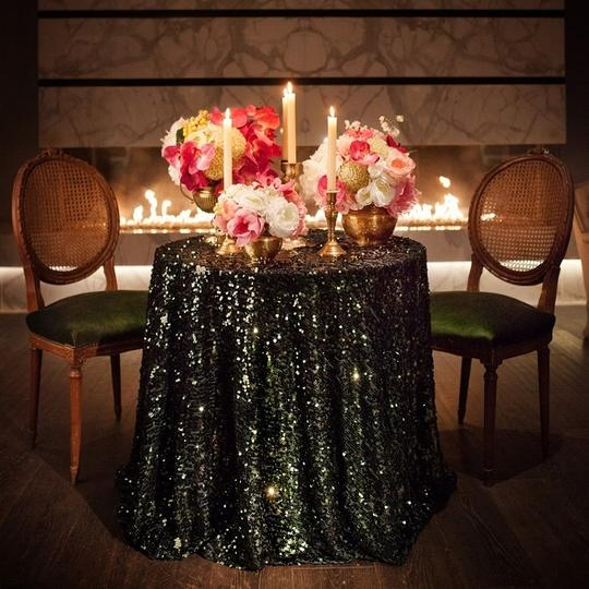 Black 120 Round Sequin Bling Glam Sparkle Tablecloth