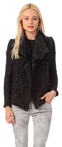 IRO Coat Draped Leather Tweed Black Jacket