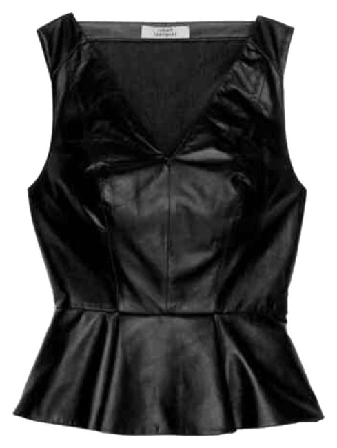 Robert Rodriguez Top Black perforated leather Image 1