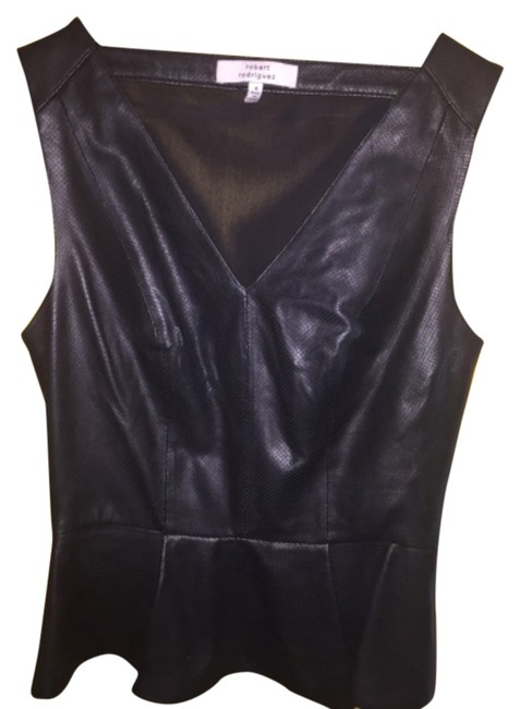Robert Rodriguez Top Black perforated leather Image 4