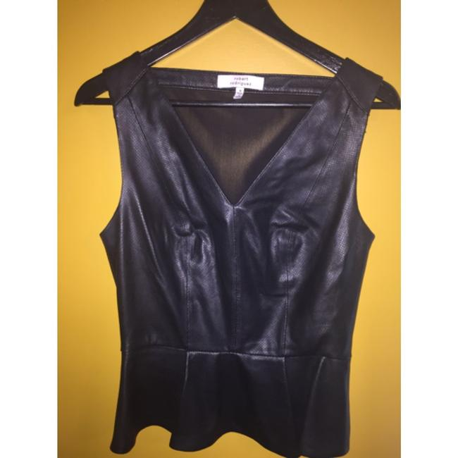 Robert Rodriguez Top Black perforated leather Image 5