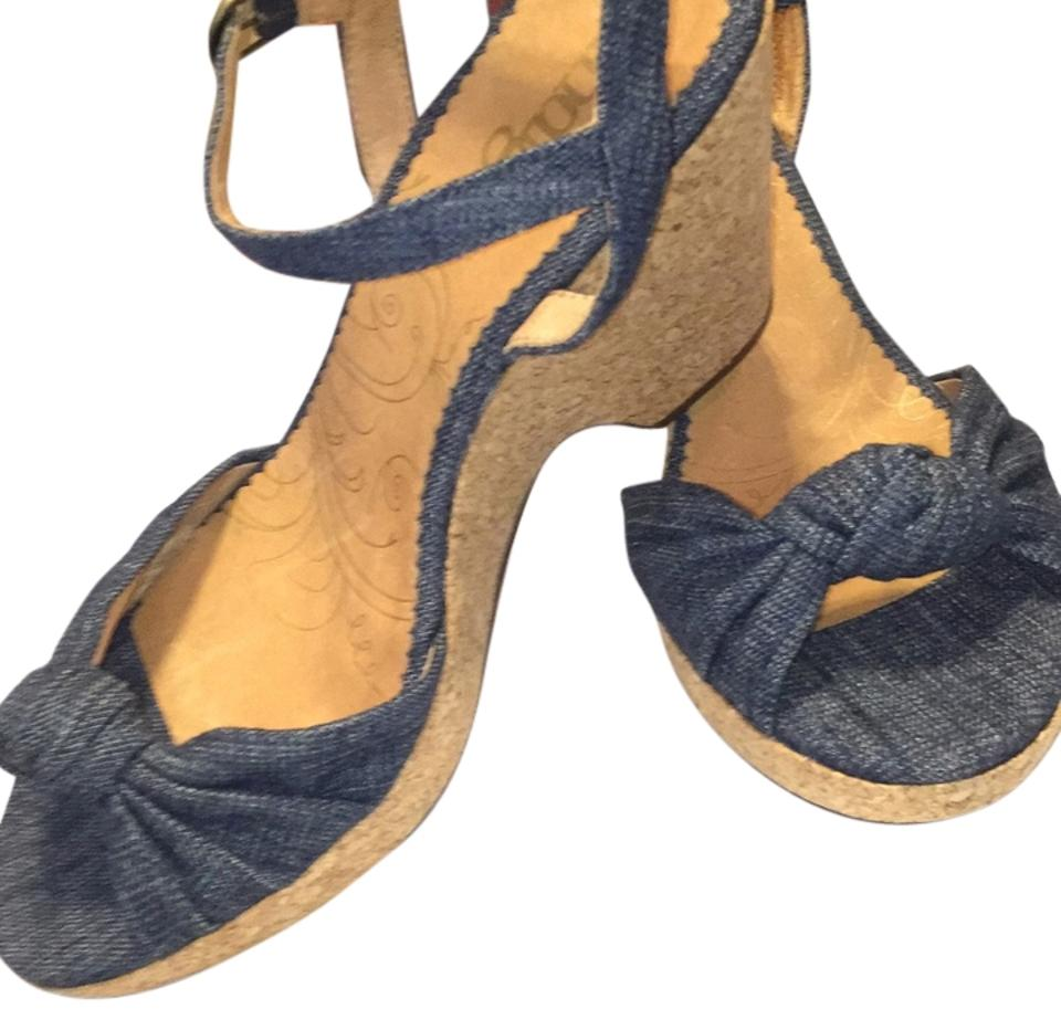 Bridal Shoes Jb: Clarks Bella Peace #61250 Tan Insole, Denim Upper, Cork