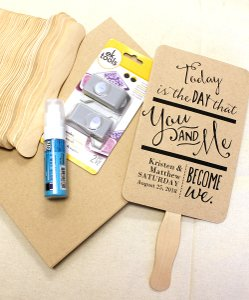 'you And Me' Wedding Program Personalized Fan Kit - Set Of 50