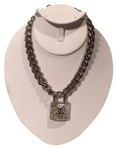 Chanel Chanel 2014 Lock Pearl Glitter Resin Padlock Curb Chain Necklace