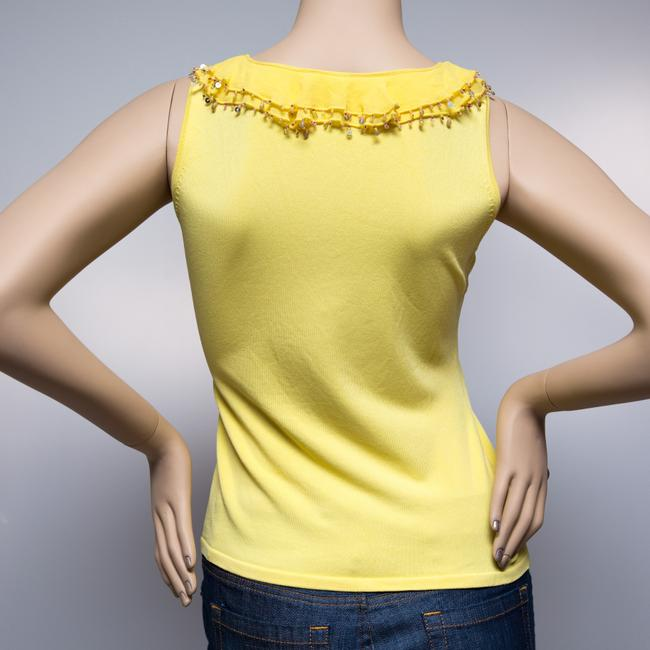 Alberto Makali Beaded Sequined Sleeveless Stretchy Top Yellow