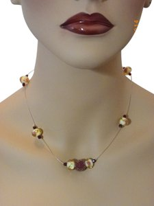 Gold pink lampwork glass beads Rose berry Necklace