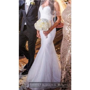 White/Ivory Lace Inspired Open Back Gown Sexy Wedding Dress Size 4 (S)