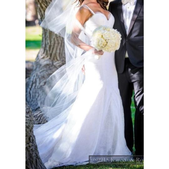 White/Ivory Lace Inspired Open Back Gown Sexy Wedding Dress Size 4 (S) Image 1