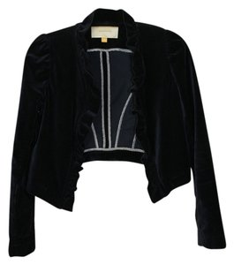 Leifsdottir Anthropologie Victorian Velvet Military-inspired Vintage-style Ruffle Dark Navy Blue Jacket