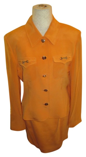 Allison Taylor Vintage 80's Allison Taylor Orange Silk 2pc Skirt and Jacket Fully Lined