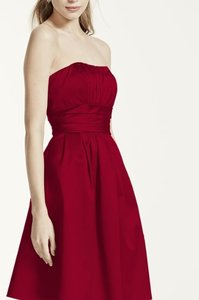 David's Bridal Apple (Red) Strapless Gown With Ruching And Pockets 84066 Dress