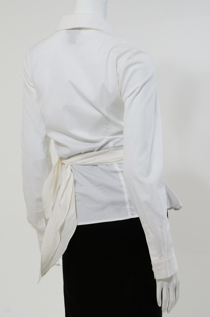 Lafayette 148 New York Button Down Wrap Front Top White
