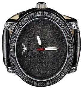 Mens Jet Black Diamond Master Diamond Max Row Black Real Diamond Watch 0.06ct