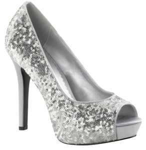 ALDO Silver Sequin Pumps