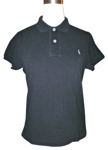 Ralph Lauren T Shirt Black with White Logo Embroidery