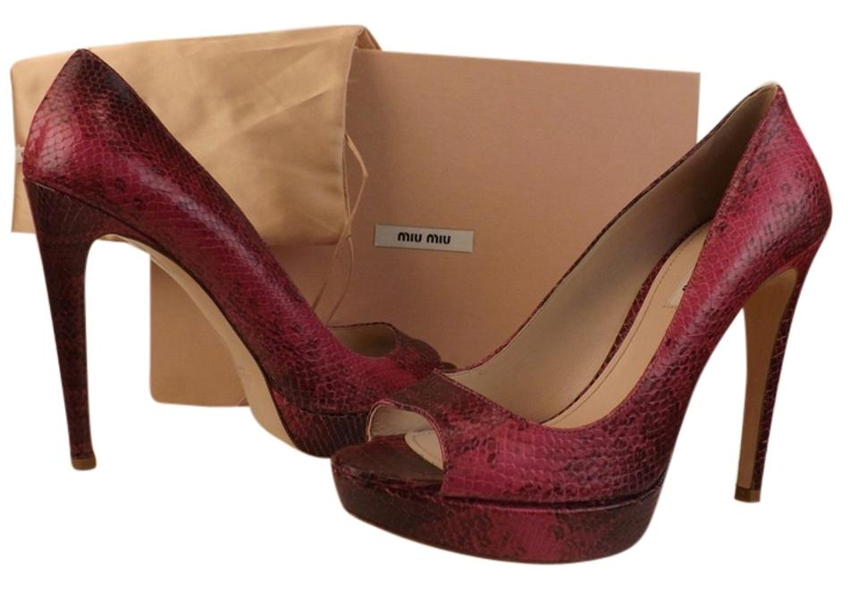a598bceccb Miu Miu Purple Dark Pink Peonia Python Leather Print Open Pumps Size ...