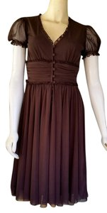 London Times short dress Brown Mesh Sweet Front Buttons Sleeves on Tradesy