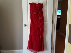 David's Bridal Burgundy Marine Corp Ball Dress