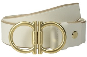 Salvatore Ferragamo Salvatore Ferragamo Belt 679222 Newsprint Ivory Leather Size 34