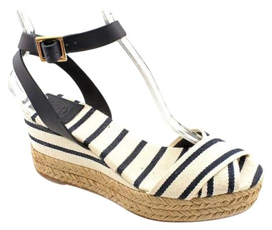 Tory Burch Espadrilles Heels Stripes Platform Navy & White Wedges Image 0