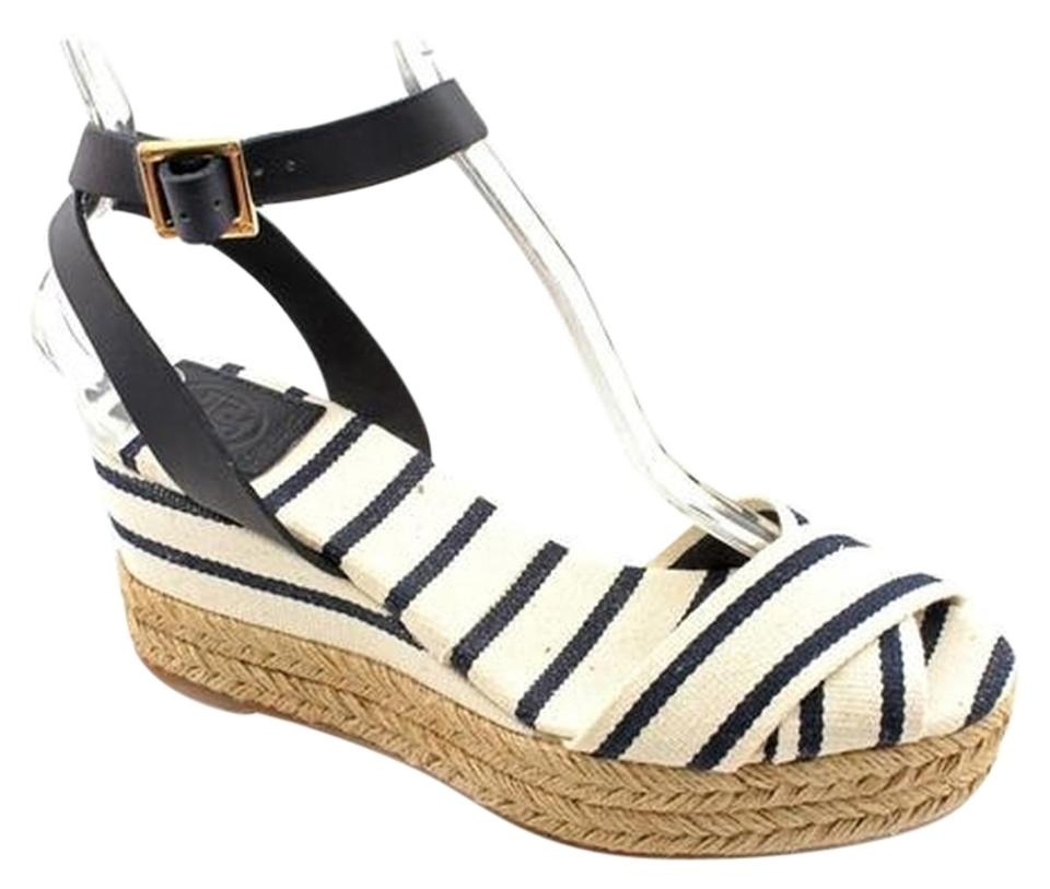 9026506db82 Tory Burch Espadrilles Heels Stripes Platform Navy   White Wedges Image 0  ...