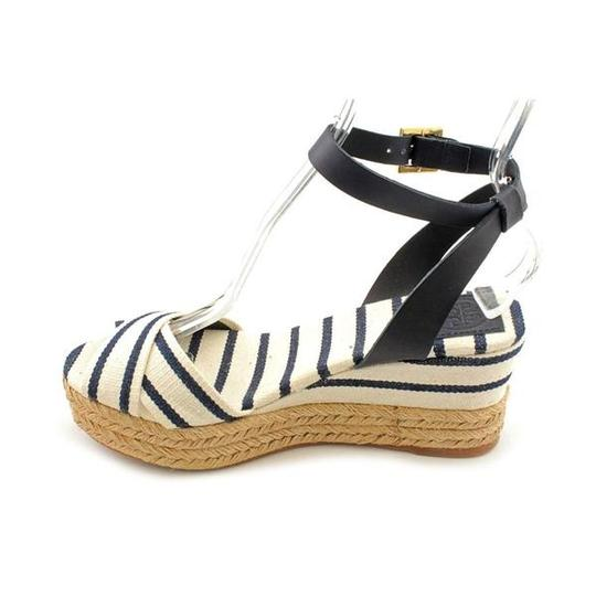 Tory Burch Espadrilles Heels Stripes Platform Navy & White Wedges Image 2