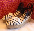 Tory Burch Espadrilles Heels Stripes Platform Navy & White Wedges Image 5