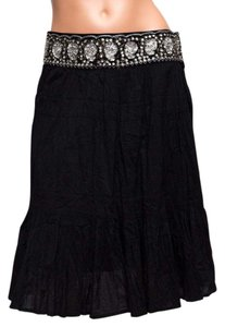 BCBGMAXAZRIA Sequined Peasant Skirt Black