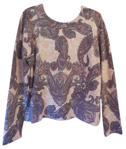 Talbots Paisley Cashmere Silk Blend Rounded Neckline Sweater