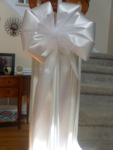 10 Add Your Own Flowers - White Eggplant Or Pink Wedding Pew Chair Bows With Tulle In Your Color And Pearl Beads