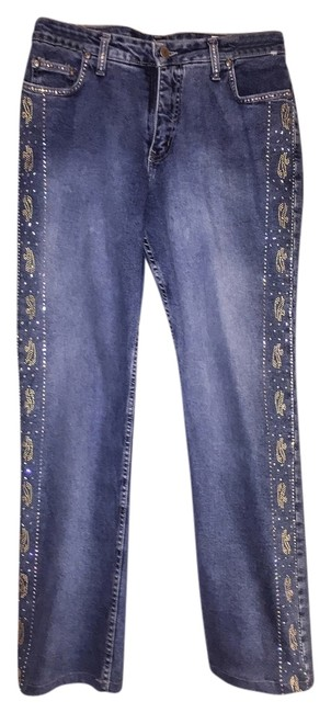 Preload https://img-static.tradesy.com/item/8575762/blue-denim-with-gold-and-silver-studs-and-crystals-straight-leg-jeans-size-34-12-l-0-1-650-650.jpg