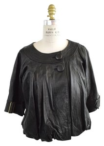 Mike & Chris Bubble Cropped Swing Ladylike Collarless Leather black Leather Jacket