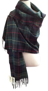 Babe Didrikson Plaid Wool Green Fringed Shawl Top