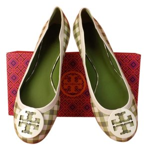 Tory Burch green ivory Flats