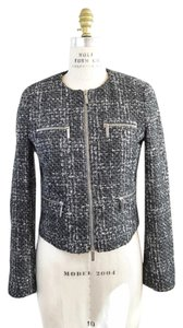 Michael Kors Moto Ladylike Collarless Tweed gray Jacket