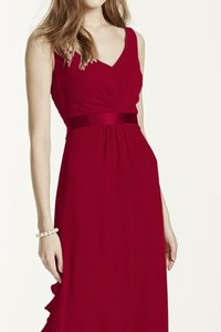 David's Bridal Apple (Red) Sleeveless Chiffon F15530 Dress