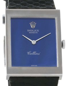 Rolex Rolex Cellini 18k White Gold Blue Mirror Dial Vintage Watch 4014